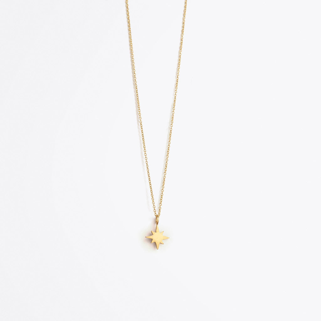 Wanderlust Life Fine Gold Chain Petite Nova Star Necklace