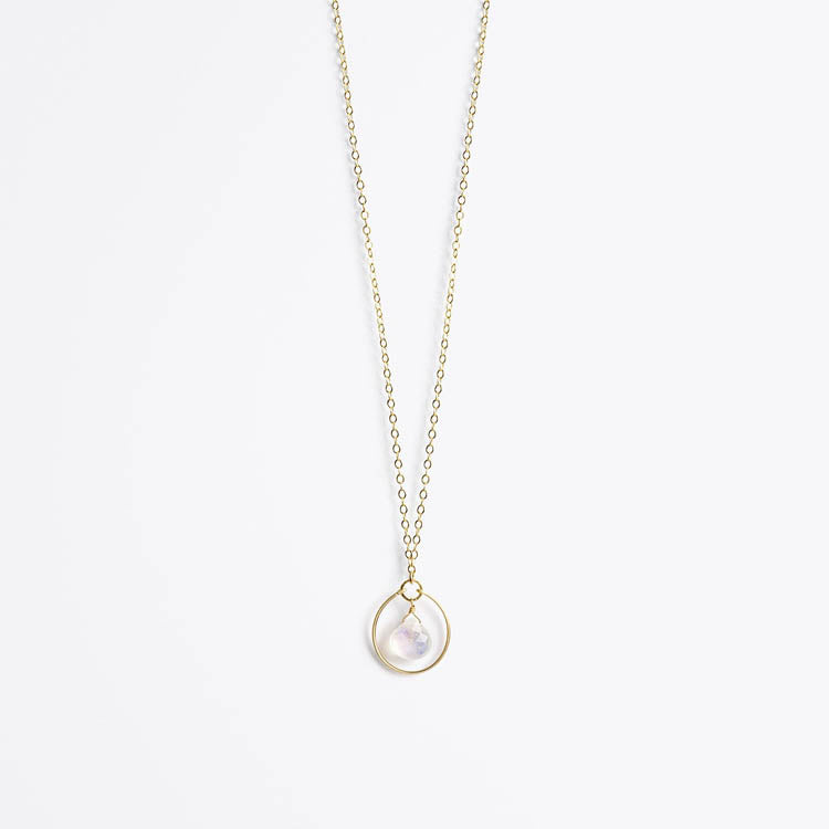 Product shot: Wanderlust Life Petite Stella Orb Moonstone Gold Chain Necklace