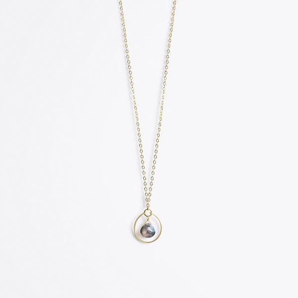 Product shot: Wanderlust Petite Stella Orb Labradorite Gold Chain Necklace
