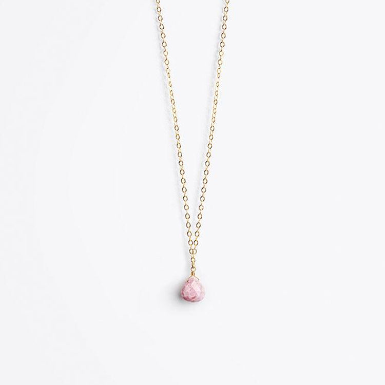 Wanderlust Life Pink Rhodonite Fine Gold Chain Necklace