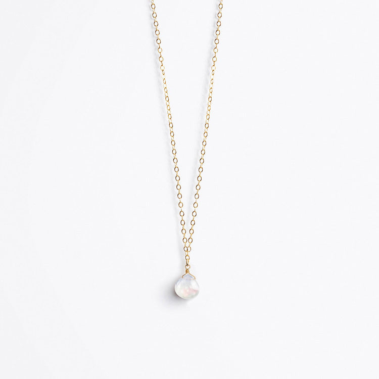 Wanderlust Life Rainbow Moonstone Fine Gold Chain Necklace