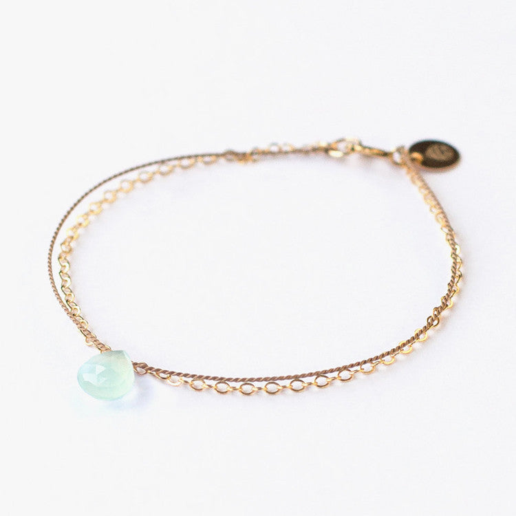 Wanderlust Life Sea Glass Chalcedony Bracelet – A delicate & beautiful mix of texture - gold, silk & sea glass chalcedony
