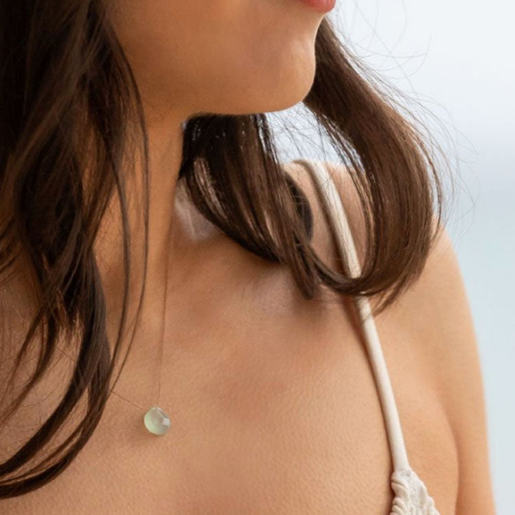 Model wearing a Wanderlust Life Sea Glass Chalcedony Necklace