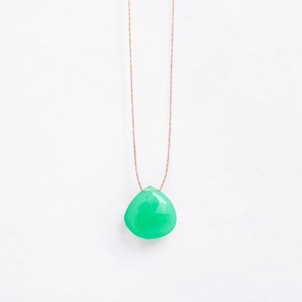 Wanderlust Life Necklace Apple Green Chalcedony – a faceted, apple green, semi-precious stone on a natural tone thread