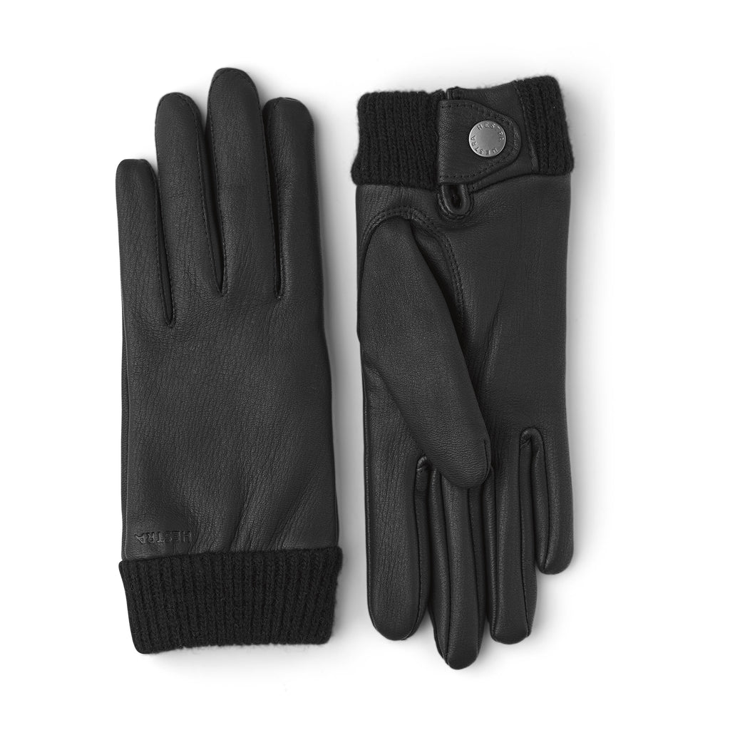 Hestra Mens Leather Idun Black Gloves