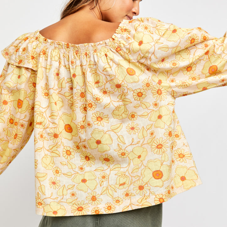 Free People Miss Daisy Ivory Combo Printed Top