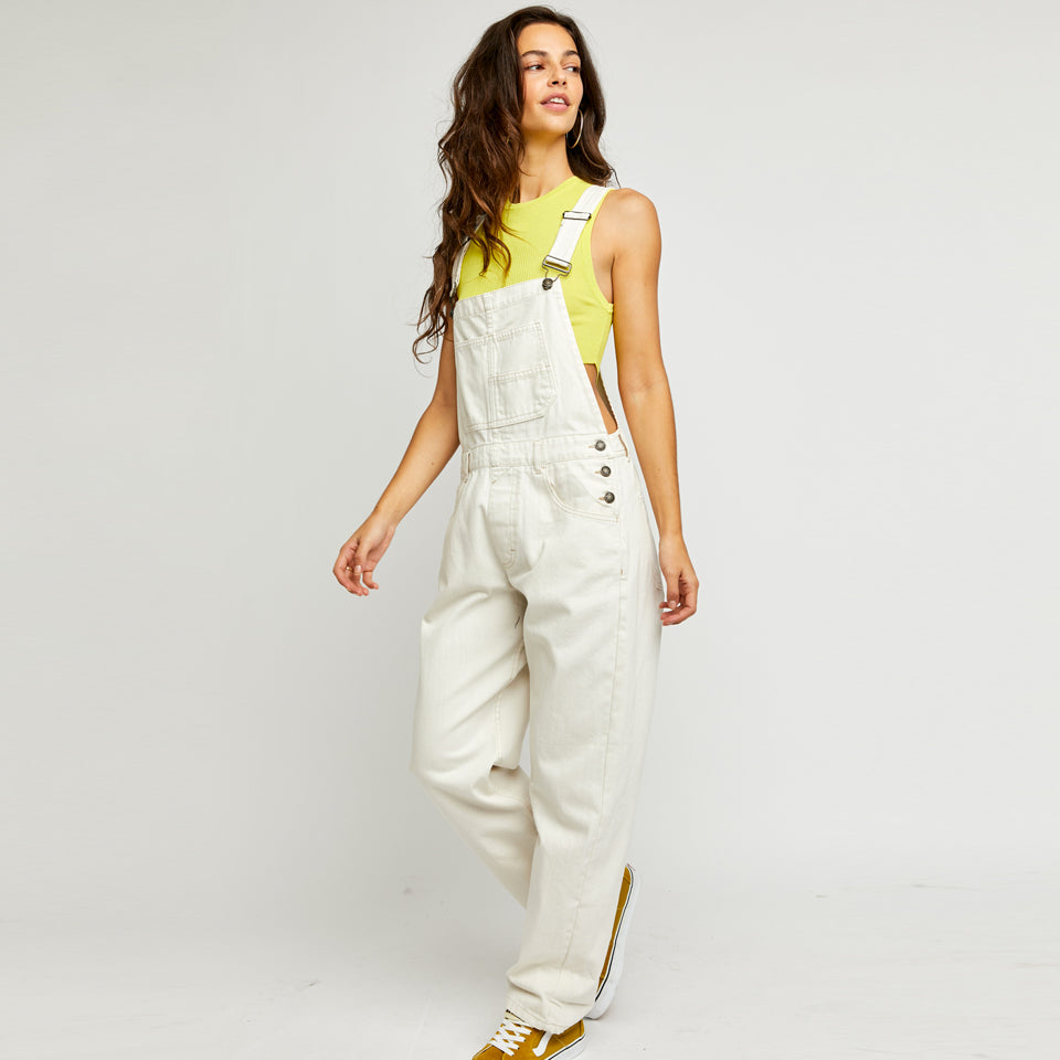 Free People Denim Ziggy Parchment Overalls