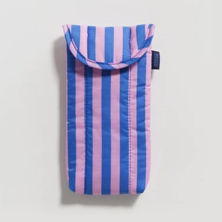 Baggu Pink And Blue Stripe Puffy Glasses Case