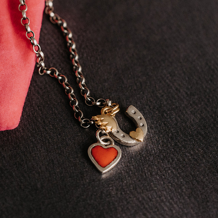 Sophie Harley Belcher Necklace With Heart And Horseshoe Charms