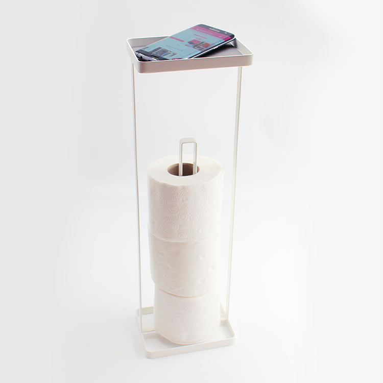Yamazaki Tower Free Standing Toilet Roll Holder with Tray