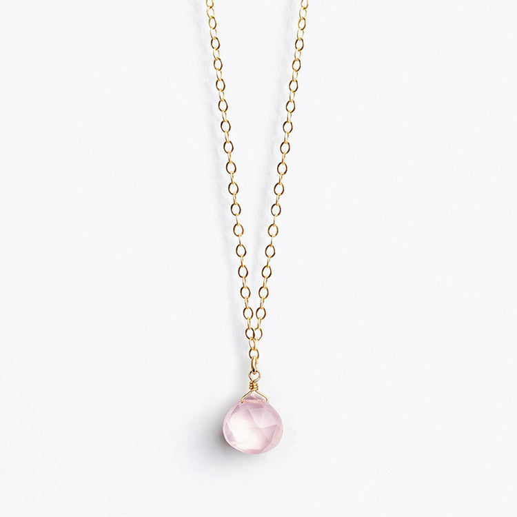 Wanderlust Life Rose Quartz Fine Gold Chain Necklace
