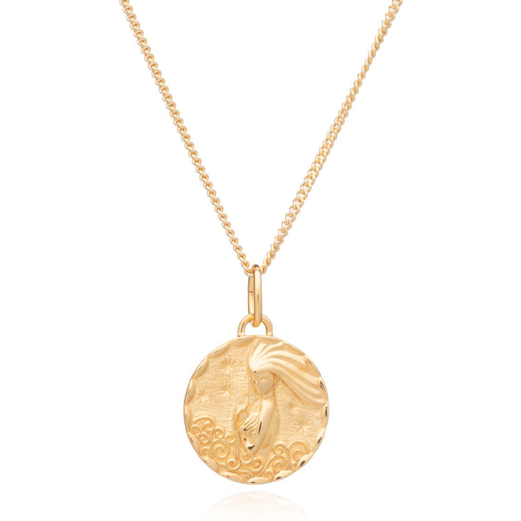 Rachel Jackson Aquarius Zodiac Art Coin Gold Necklace