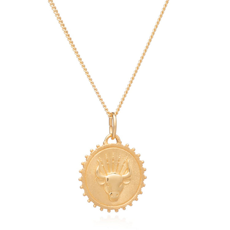 Rachel Jackson Taurus Zodiac Art Coin Gold Necklace