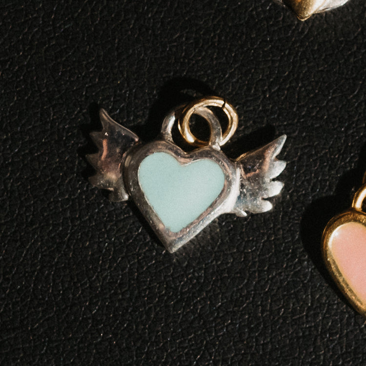 Sophie Harley Turquoise Winged Heart Silver Charm