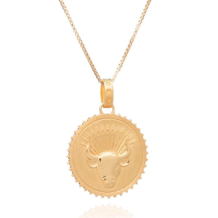 Rachel Jackson Statement Taurus Zodiac Art Coin Short Gold Necklace