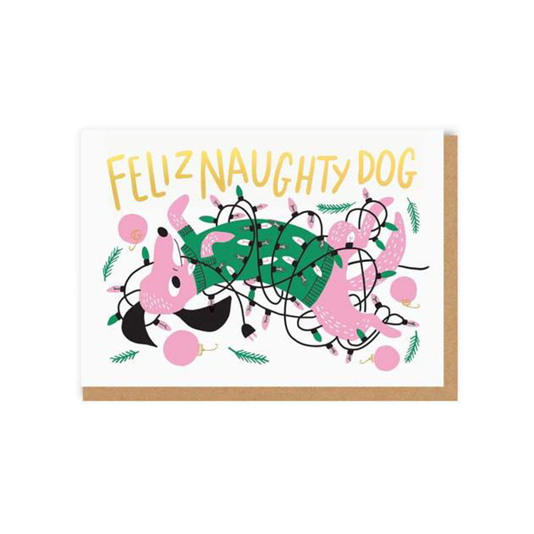 Ohh Deer Feliz Naughty Dog Christmas Card