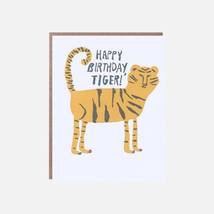 1973 Egg Press Happy Birthday Tiger Greetings Card