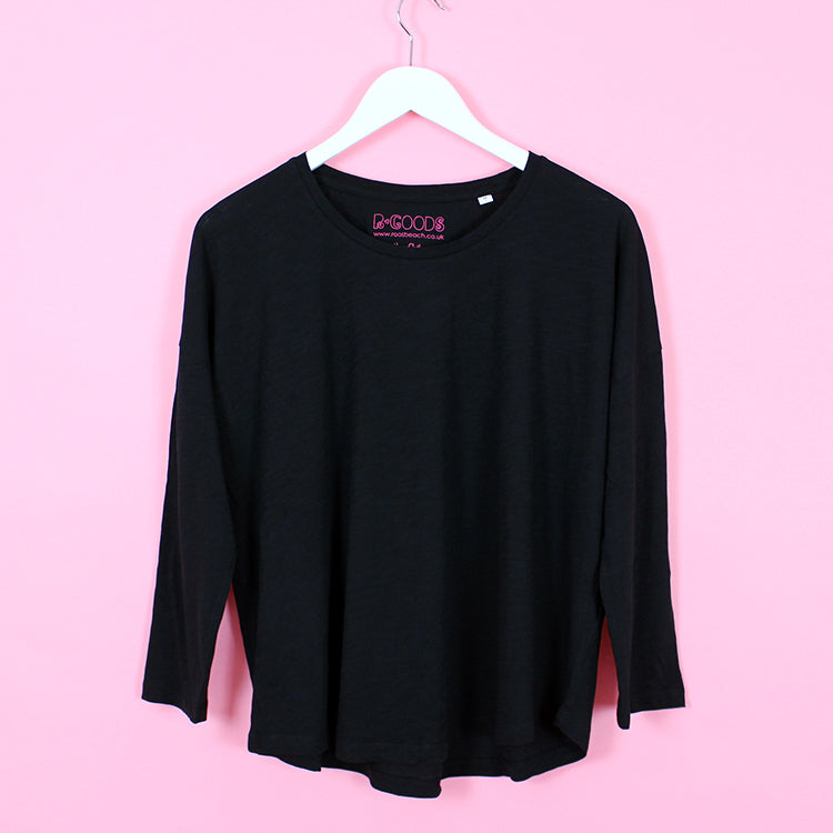 R Goods Women's Black 3/4 Length Tee