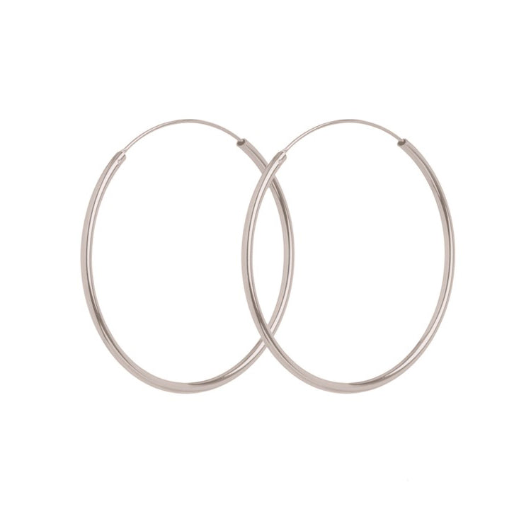 Pernille Corydon Silver Midi Plain Hoop Earrings 40mm