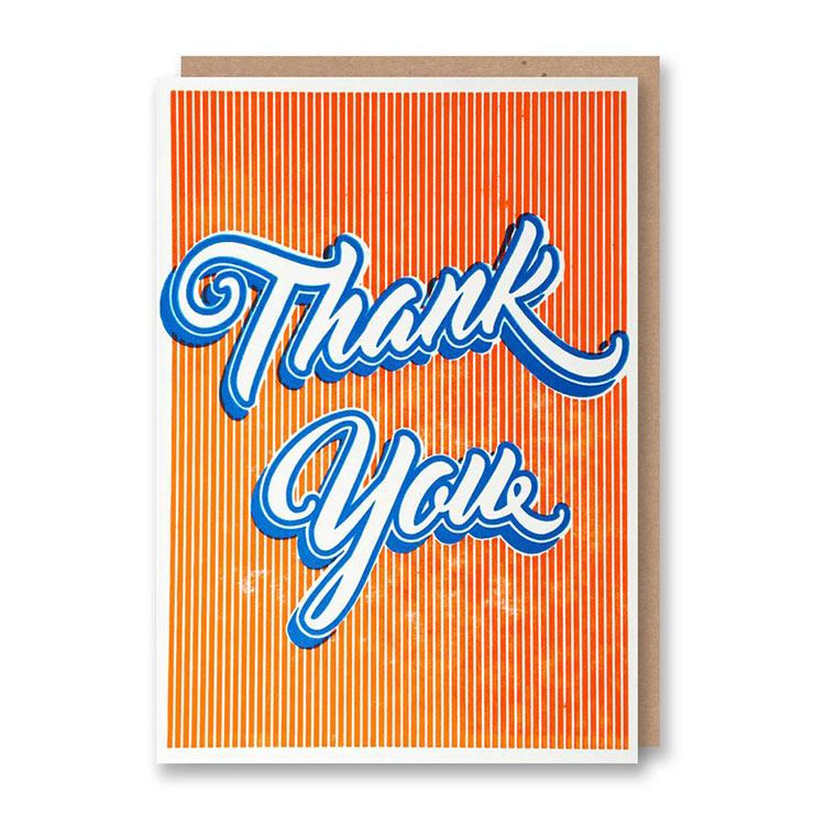 1972 Thank You Script Letterpress Card