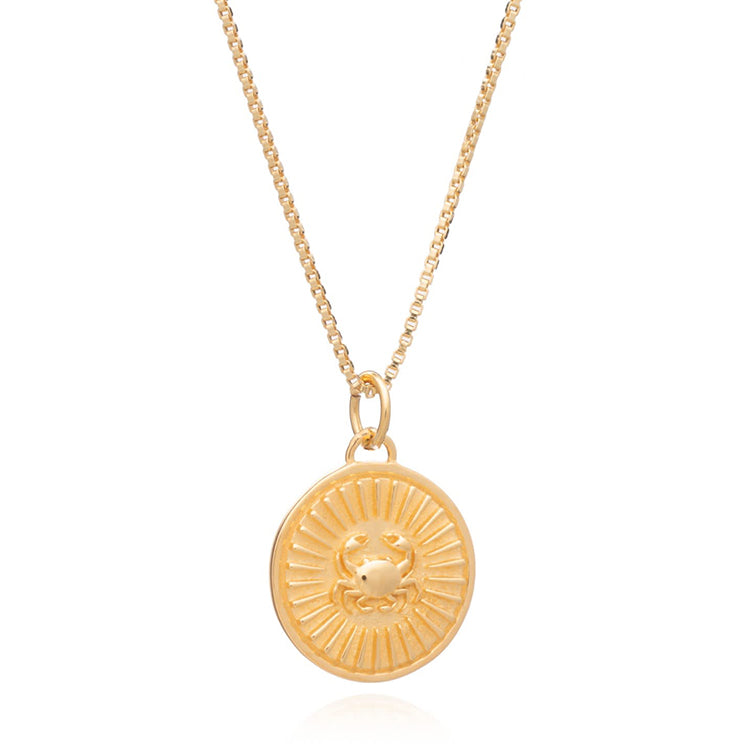 Rachel Jackson Cancer Zodiac Art Coin Gold Necklace