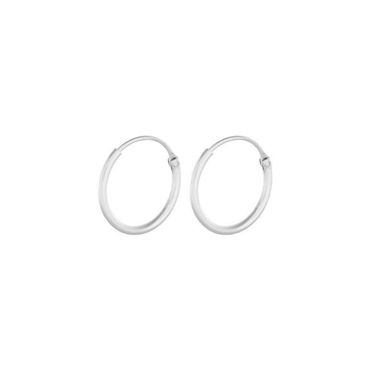 Pernille Corydon Tiny Plain Silver Hoops 13 mm