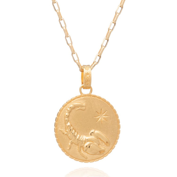 Rachel Jackson Statement Scorpio Zodiac Art Coin Gold Necklace