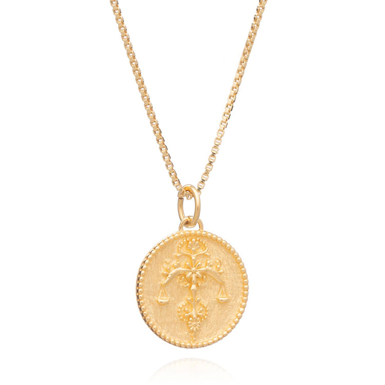 Rachel Jackson Libra Zodiac Art Coin Gold Necklace