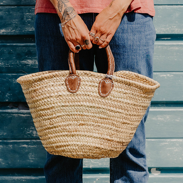 R Goods Azni Raffia Basket Bag