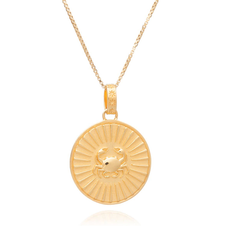 Rachel Jackson Statement Cancer Zodiac Art Coin Short Gold Necklace