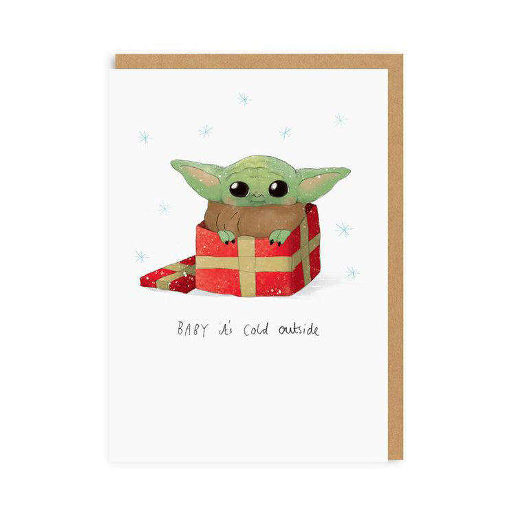 Ohh Deer Baby Yoda Christmas Greeting Card