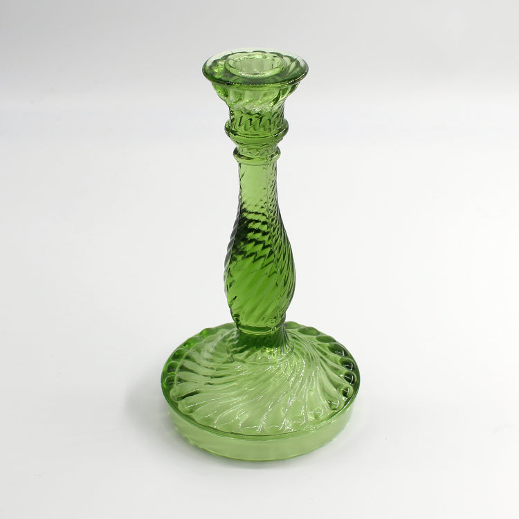 Van Verre Green Glass Twist Candlestick