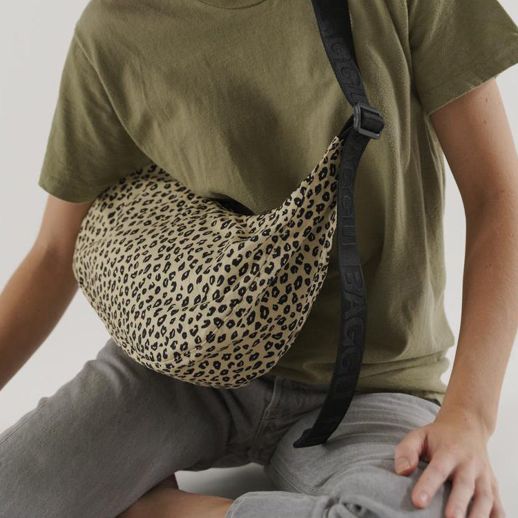 Baggu Honey Leopard Medium Nylon Crescent Bag