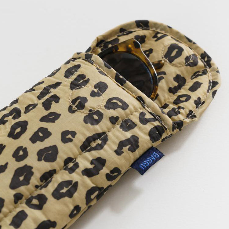 Baggu Honey Leopard Puffy Glasses Case