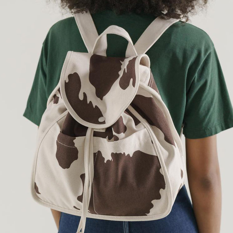 Baggu Brown Cow Print Drawstring Backpack