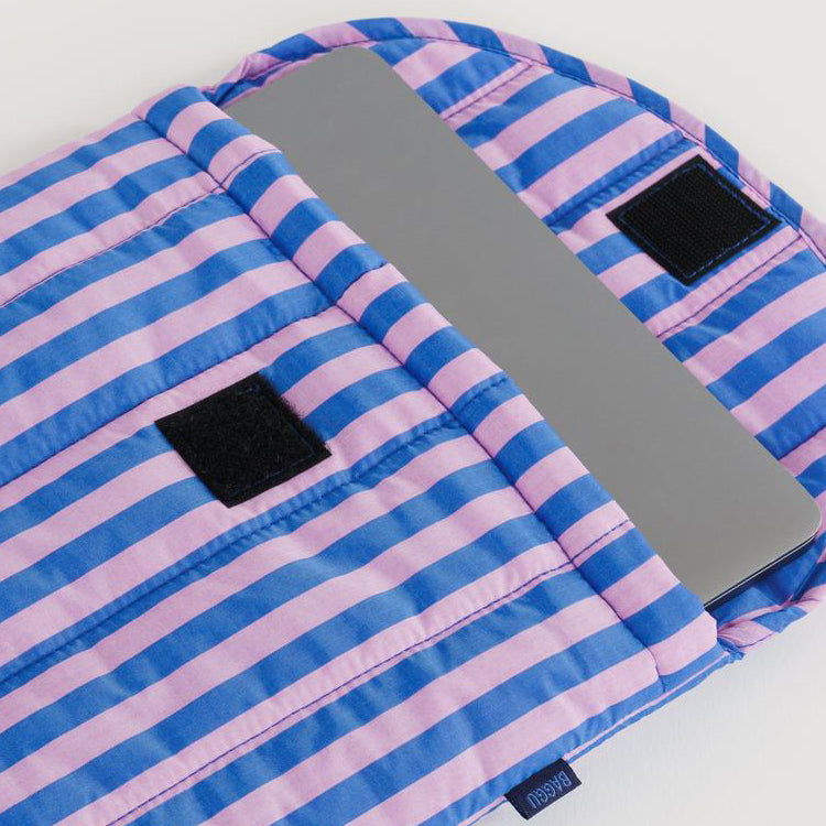 Baggu Pink And Blue Stripe Puffy Laptop Sleeve 13""