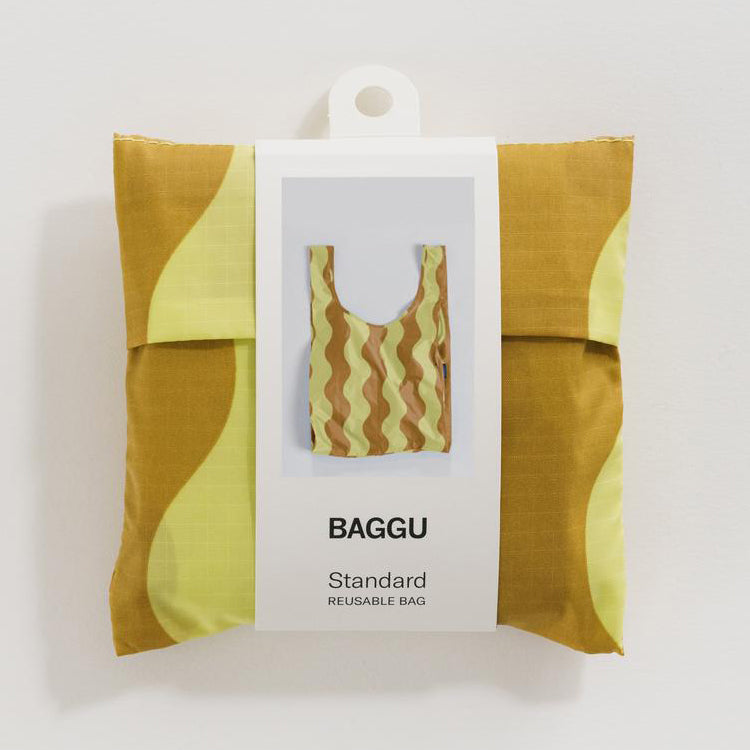 Baggu Yellow and Gold Wavy Stripe Standard Reusable Bag