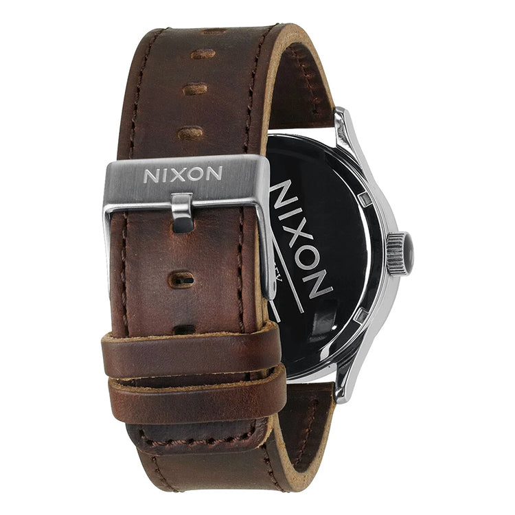 Nixon Sentry Silver Brown Leather Watch