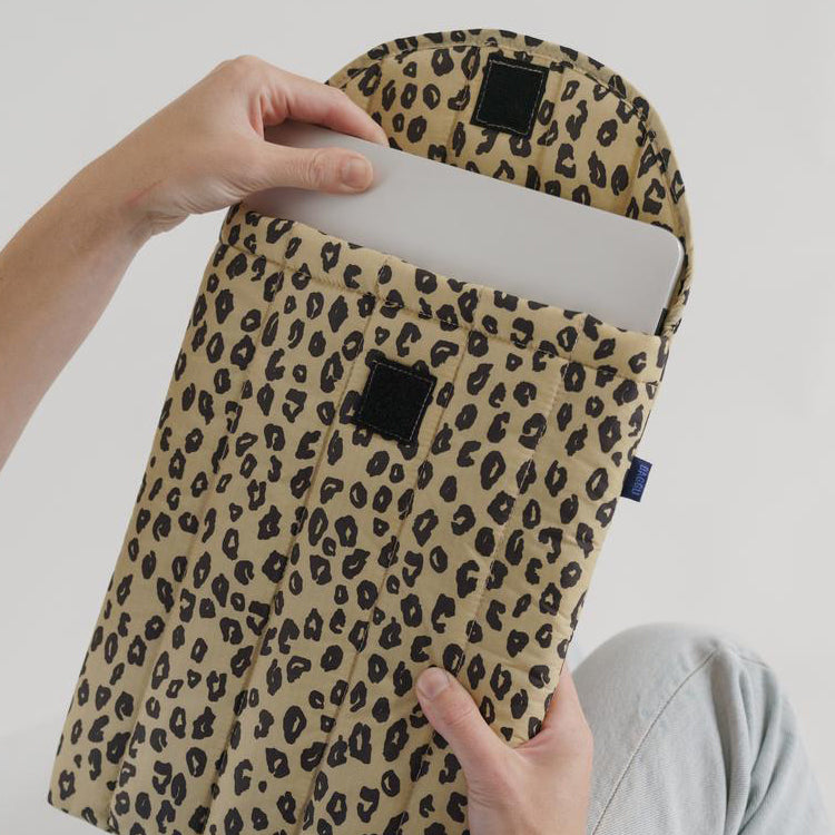 Baggu Honey Leopard Puffy Laptop Sleeve 13