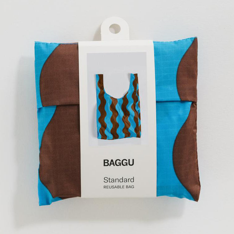 Baggu Teal and Brown Wavy Stripe Standard Reusable Bag