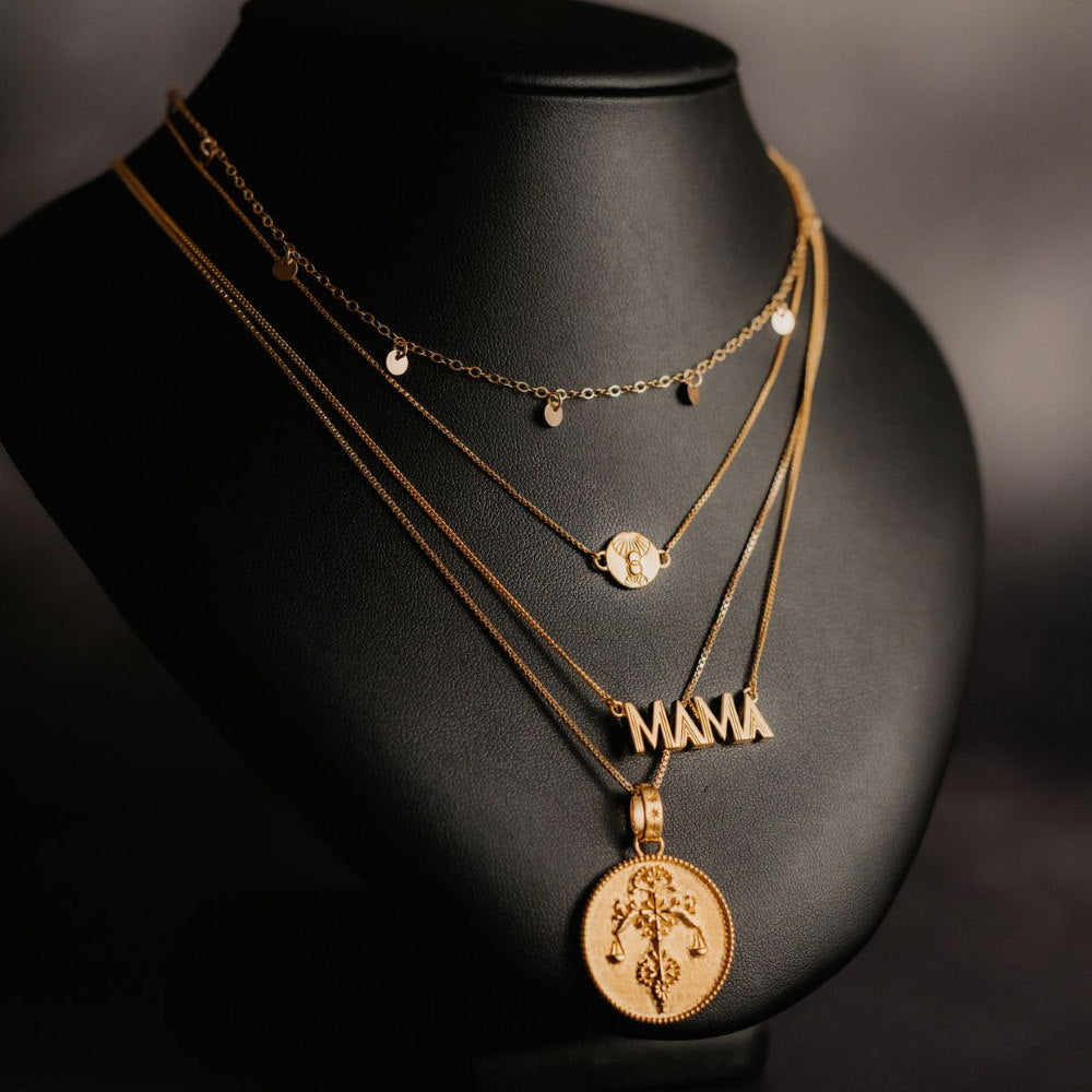 Rachel Jackson Statement Libra Zodiac Art Coin Short Gold Necklace