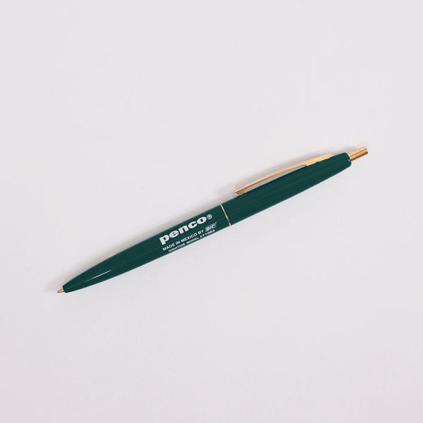 Product shot: Penco BIC Clic Ballpoint Forest Green Pen on a white background
