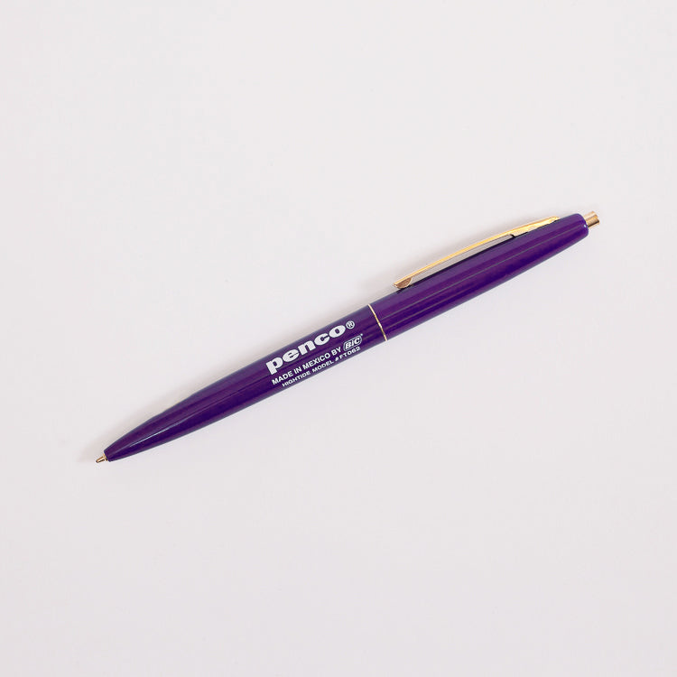 Product shot: Penco BIC Clic Ballpoint Purple Pen on a white background