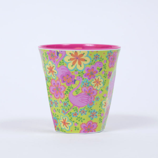 RICE Two Toned Flamingo Print Melamine Cup