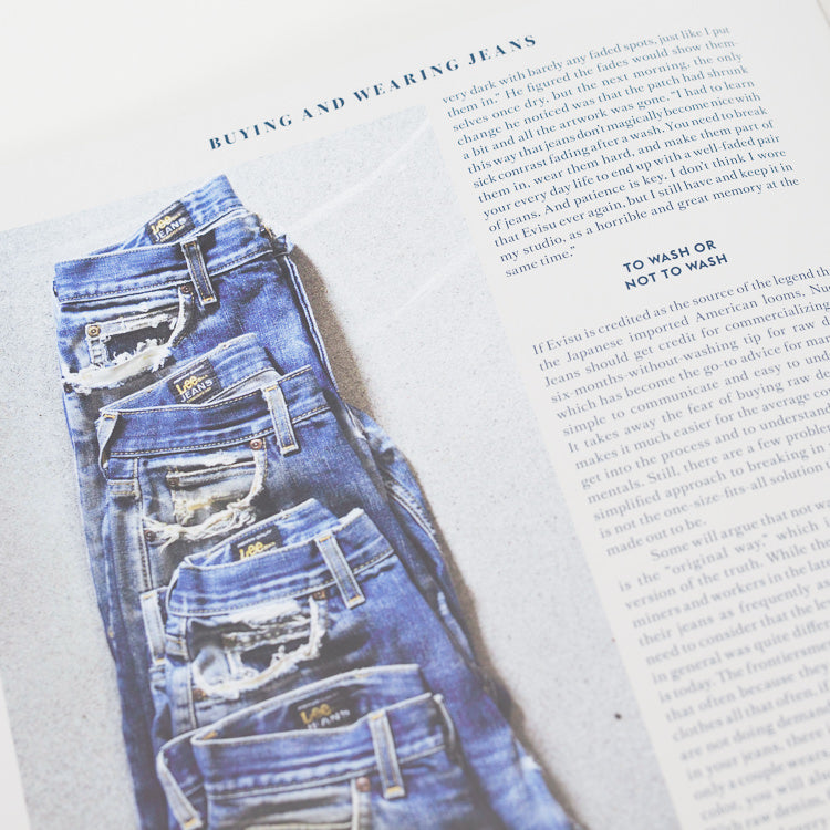 Inner spread from Blue Blooded: Denim Hunters and Jeans Culture Book