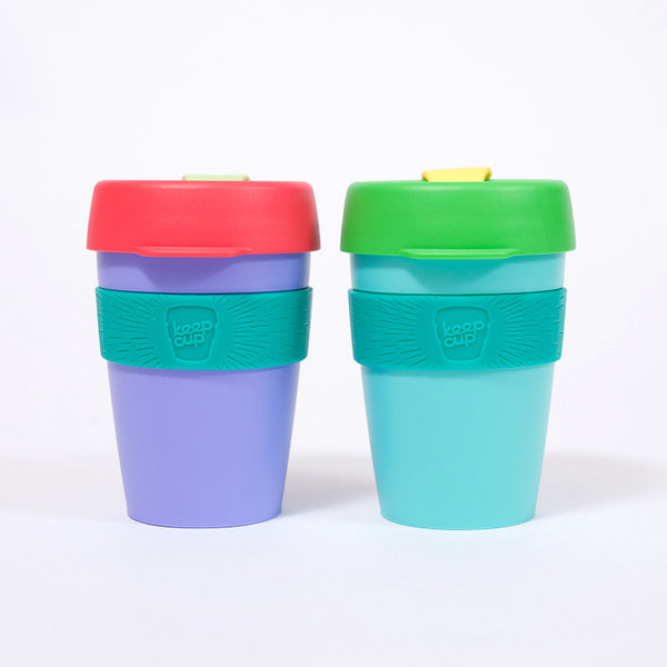 KeepCup Reusable Travel Cup 340ml | Purple Watermelon - with greenery