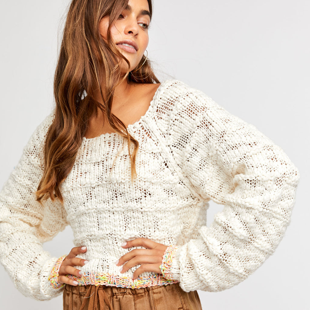 Free People Ivory West Palm Pullover