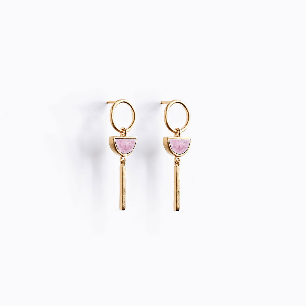 Wanderlust Life Sunburst Pink Rhodonite Drop Earrings