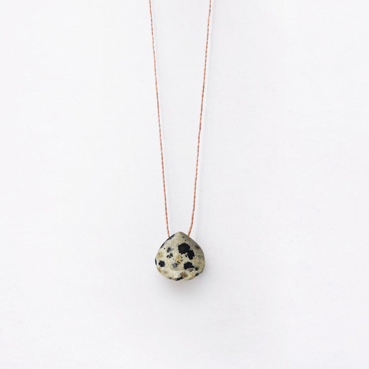 Wanderlust Dalmation Jasper Necklace – a beautiful speckled, semi-precious stone available from Roo's Beach UK