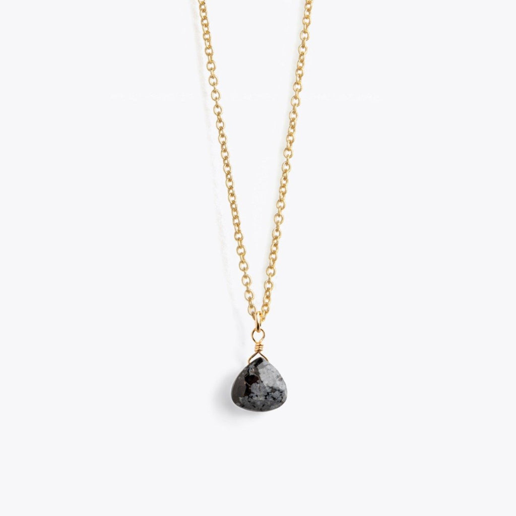 Wanderlust Life Obsidian Fine Gold Chain Necklace